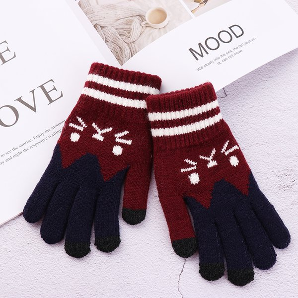 2018 Fashionable Winter Touch Screen Gloves Women Girl Cute Cartoon Cat Printed Wool Knitted Full Finger Mittens Christmas Gifts