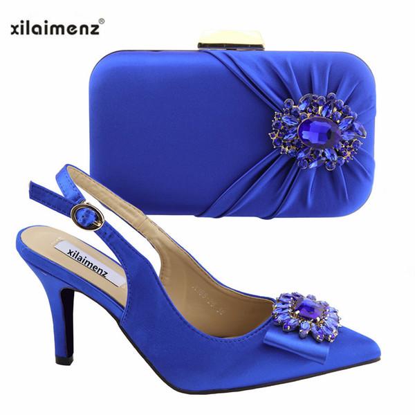 2019 Neue Design Schuhe Mit Passenden Taschen Set Italienische frauen Party Schuhe und Tasche Sets Blaue Farbe Frauen Hohe Sandalen Und Handtasche