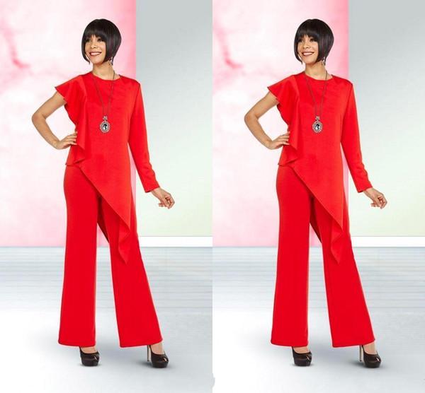 Bright Red Elegant Mutter der Braut Anzüge Entwickelt Eine Schulter Chiffon Mutter des Bräutigams Kleider Hosenanzug Frauen Casual Anzüge BC1024
