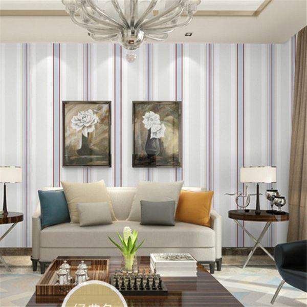 Acheter Living Modern Room Lines Papier Peint Rouleau Vision Simple Étendre  Le Papier Peint Pour Les Murs De La Chambre Beige Bleu Classique Rouge De  ...