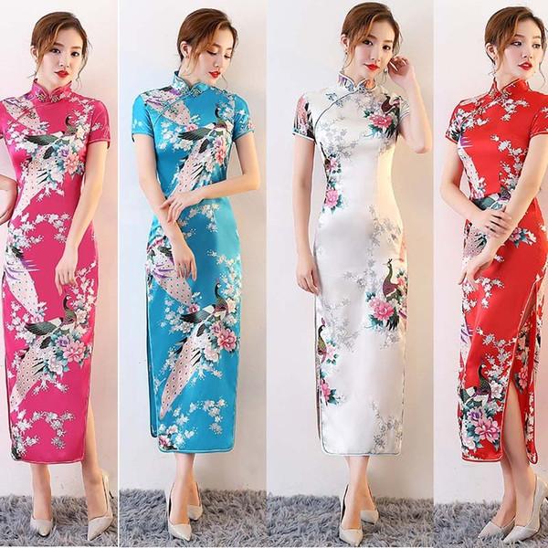 Cinese abito da sposa manica corta lungo Qipao Cheongsam abbigliamento tradizionale cinese per le donne Stage Performance Wear DNV11139