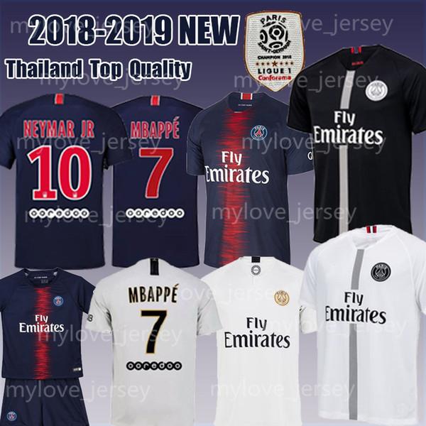 Homens 10 PSG 7 MBAPPE Casa Camisa de Futebol 9 CAVANI Saint Germain 18/19 camisa de Futebol azul Camisas de Futebol do miúdo Tamanho S-XL