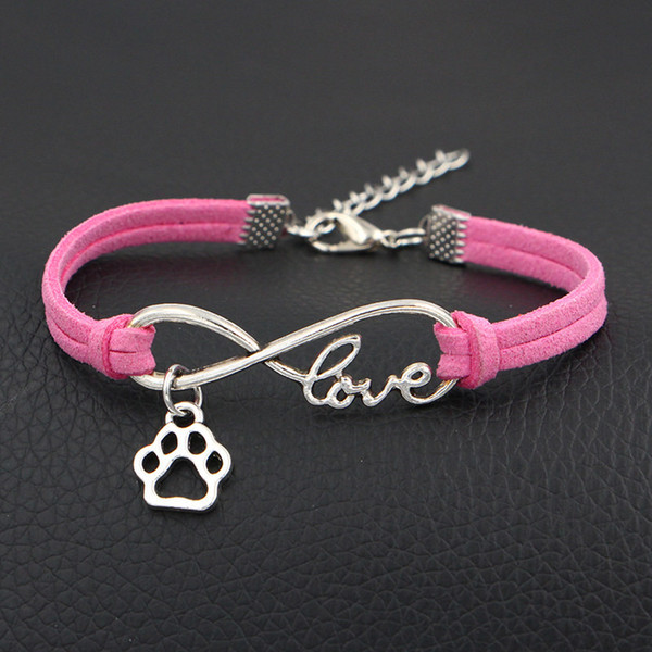 12 Colors Pink Leather Suede Jewelry Handmade Braided Rope Weave Infinity Love Dog Paw Prints Charm Bracelets & Bangles Gifts For Women Men