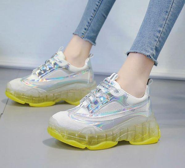 Scarpe da donna alla moda con plateau Scarpe casual a punta tonda Sneakers traspiranti a rete confortevole Taglia uomo 35-39