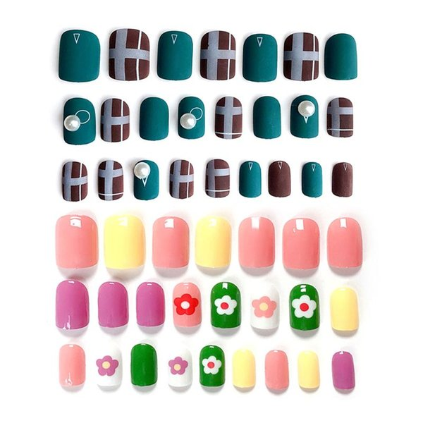 24pcs/set Acrylic Fake Fingernails Ins Rendering False Nails Simple Rainbow Flower Women Full Nail Tips Patch Short Nail Art DIY