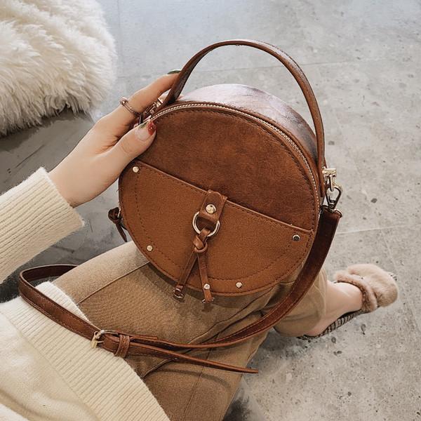 Vintage Leather Scrub progettista rotonda Crossbody Bag per le donne 2019 PU borse a spalla in pelle Piccole Donne Borse Mini Tote Bag