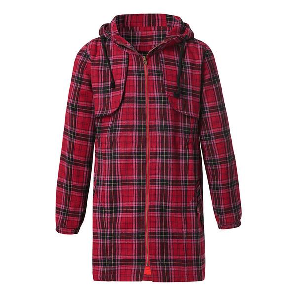 FeiTong Männer Jacke Streetwear Herrenbekleidung Outwear Kariertes Top Mit Kapuze Taschen Vintage Oversize Mäntel Jacke Männer Frühling