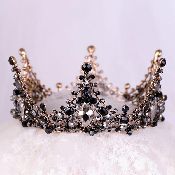 12b97fbb6d9af Black Crystal Rhinestone Full Circle Birthday Tiaras De Noiva Gilrs Bridal  Headpiece Head Jewelry Women Wedding Hair Accessories Y19051302