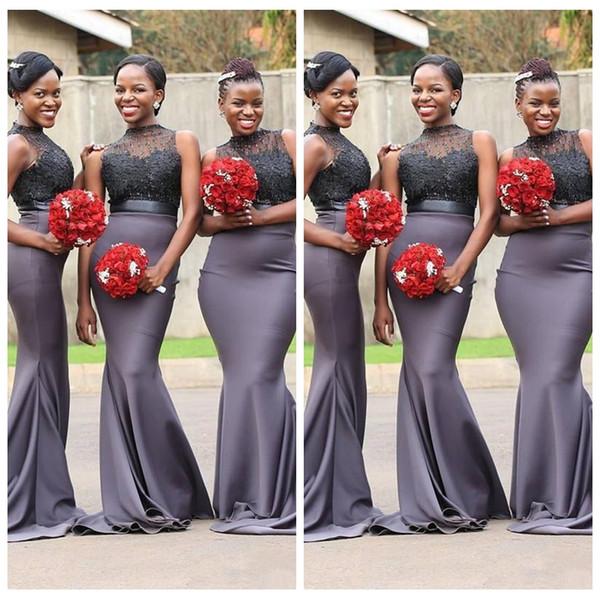 2019 Sheer О-образным вырезом тонкий серый Африканская Русалка платья невесты круглый вырез кружева аппликация рукавов бисером развертки поезд фрейлина платья