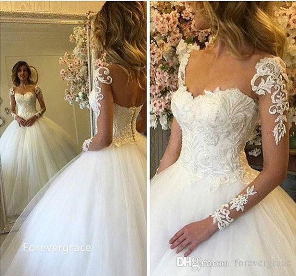 2019 Modest Arabic Dubai Style Sheer Long Sleeves Lace Wedding Dress Luxury Ball Gown Turkey Bridal Gown Custom Made Plus Size Wedding Dress For Sale