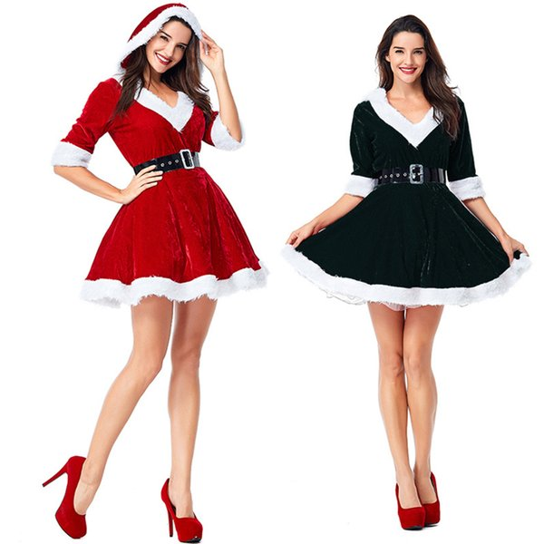 Charming Dress Women Winter Snowman Cosplay Clothing Christmas Red Black Hooded Tennis Dress Sexy V-Neck Patry Dresses