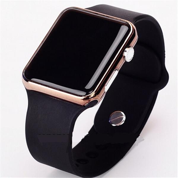 Neue Heiße Quadratische Spiegel Gesicht Silikon Band Digitaluhr Rote Led Uhren Metallrahmen Armbanduhr Sport Uhr Stunden