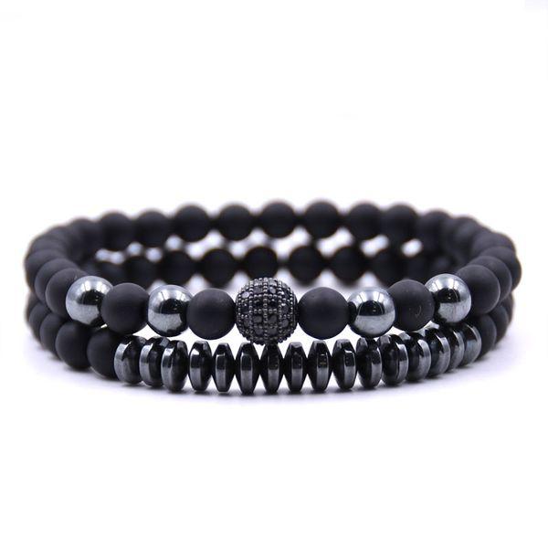 2019 Marque Nouvelle Mode Pave CZ Hommes Bracelet 6mm Perles De Pierre Avec Hématite Perle Diy Charme Bracelet Pour Hommes Bijoux Cadeau
