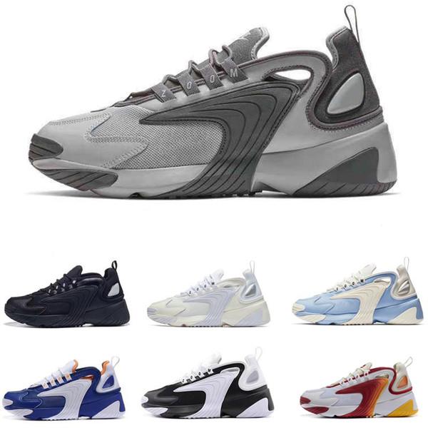 Acheter Nike Zoom 2K 2019 Triple Noir M2k Tekno Zoom 2K Hommes Femmes Chaussures De Course Blanc Crémeux Race Rouge Bleu Royal Designer Sport Sneakers
