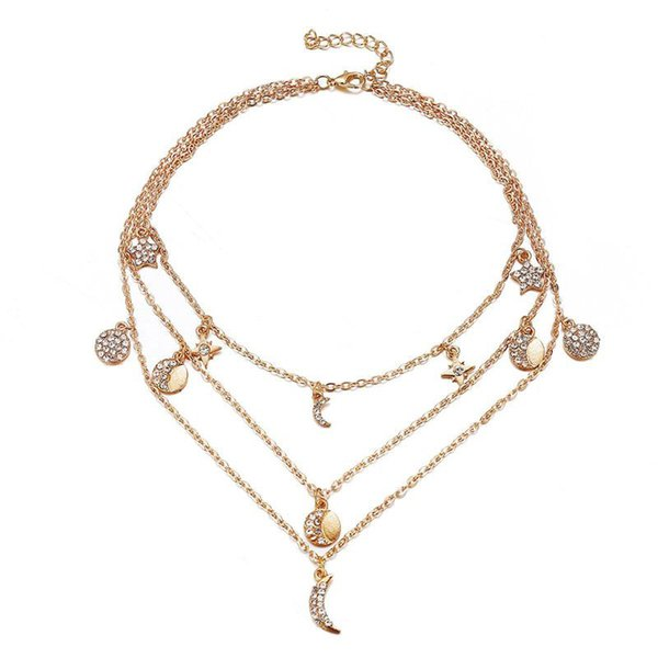 Multi Layered Necklaces Crystal Moon Star Pendants Necklace for Elegant Women Girls Wholesale Fashion Accessories Jewelry