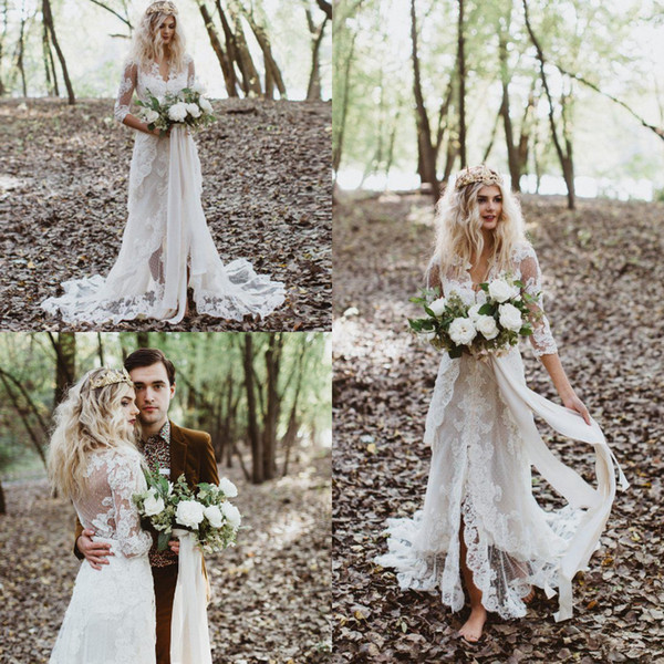 Retro Bohemian Lace Mermaid Wedding Dress Hippie V Neck Front Slit Rustic Country Bridal Gowns With 1/2 Sleeves Cheap Gybsy Boho Bride