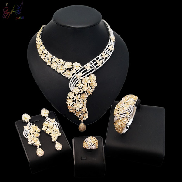 Yulaili Top Quality Small Flower Hollowed-Out Design Fashion Bridal Wedding Jewelry Sets American Cubic Zirconia Upscale Material