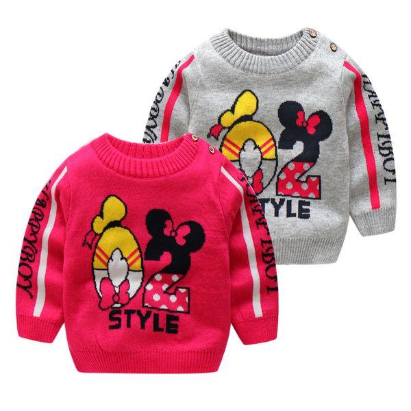 gute qualität kinder frühling herbst pullover mädchen baumwolle lässig gestrickte strickjacke säugling mädchen mode cartoon sport hemd kleidung
