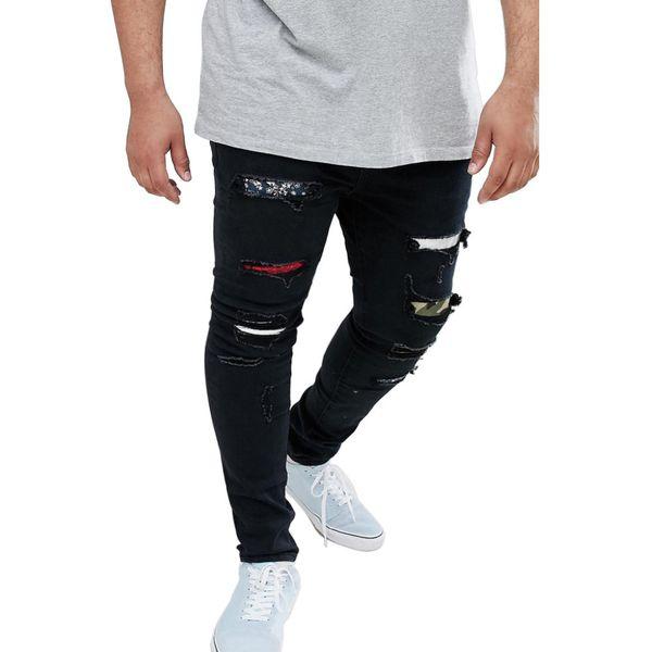 Pantaloni slim jeans strappati da uomo Pantaloni moda neri Rapper Hiphop Skateboard Elastico Pantalone