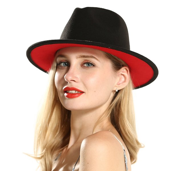 European US Mens Donna Black Red Patchwork Jazz Fedora con fiocco in feltro di lana Fedora Wide Brim Panama Style Hat per Festival