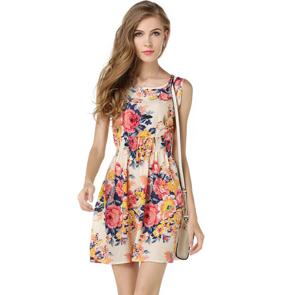 Mode Frauen Kleid Blumendruck ärmellose Eleganz Stil Chiffon neue lässige Sommer Weste Rock für Damen schönes kurzes Kleid 2019
