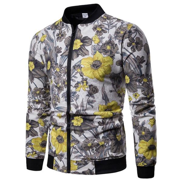 2019 Spring jacket men Africa folk-custom fashion flower pilot zipper linen long sleeves Baseball uniform new  tops