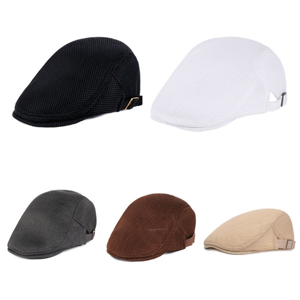 Mens Breathable Mesh Summer Duckbill Hat Newsboy Beret Ivy Cap Cabbie Flat Soft Driving Outdoor Adjustable THINKTHENDO