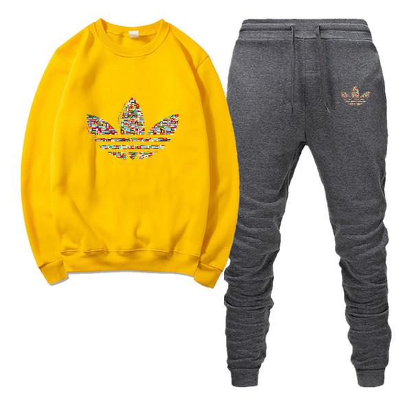 2019 novo designer de moda sportswear dos homens de outono e inverno sportswear dos homens carta de impressão dos homens casuais esportes jogging terno