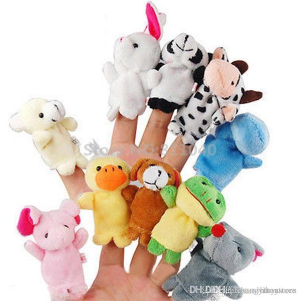 Wholesale-10pcs/Set Zoo Farm Animal Plush Hand Puppets 2016 New Brand Finger Soft Toy To Baby Children Kids Birthday Christmas Gift