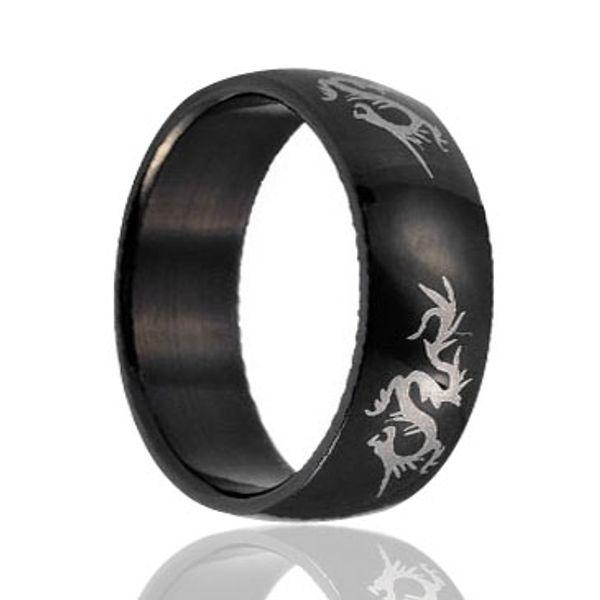 Custom dragon Black laser engraving pictured Tungsten Ring wholesales 8mm