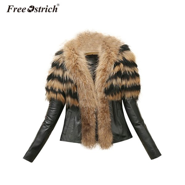 Free Ostrich Coat Winter Leather Jacket Women Long Sleeve Thick Warm Clothes Fur Coat Spliced Slim Overcoat Dropshipping D28
