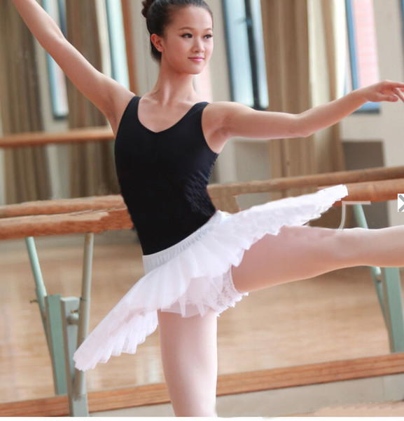 Dancer's Choices Girls Pancake Ballet Tutu Professional White Black Half Ballet Tutus Practice Rehearsal Platter Dress