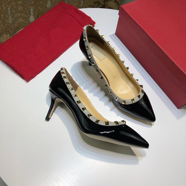Seksi Sivri Burun Med Yüksek Topuklu Yaz Bayan Düğün Moda Toka Çivili Stiletto Yüksek Topuk Sandalet Ayakkabı yz19022702