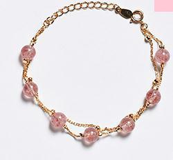 Natural strawberry crystal bracelet female simple pink crystal girl double bracelets girlfriends transfer beads bracelet jewelry