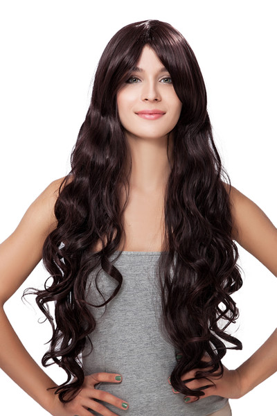 New Hot Sale Women Long Brown Oblique Bangs Wavy Curly Kanekalon Heat Resistant Cosplay Party Hair Full Wig Wigs