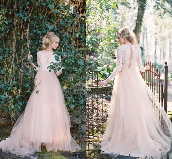 Western Garden Wedding Dresses Long Sleeves V Neck Country A Line Wedding Dresses Key Hole Back Lace Top Wedding Gowns 2019 Newest