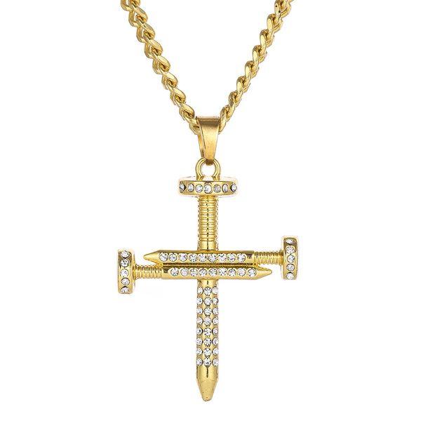 New Male Crystal Rock Ciondolo per unghie Hiphop Oro Zirconia Collana con ciondolo croce gioielli in acciaio inossidabile per gli uomini