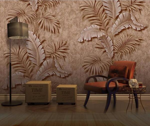 CJSIR Duvar Kağıdı 3D Üç boyutlu Rölyef Tropikal Bitkiler TV Arkaplan Duvar Salon Yatak Odası Duvar 3d duvar kağıdı