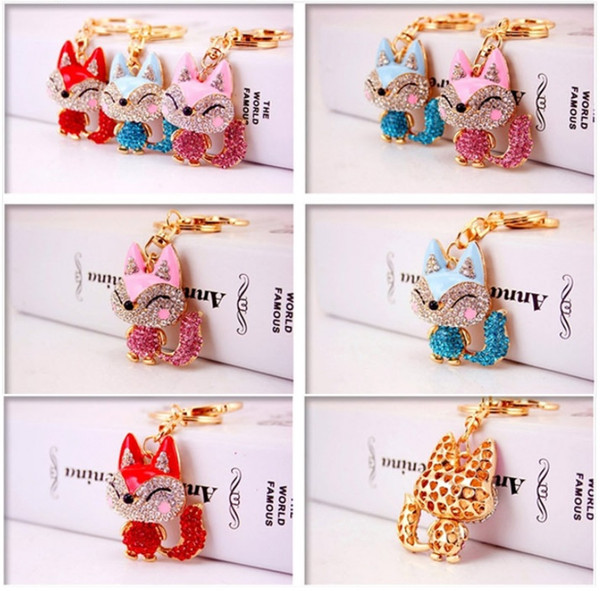 Crystal Rhinestone fox Keychain Metal Keychain Keyring Car Keychains Purse Handbag Pendant long tail fox pendant Metal keychain