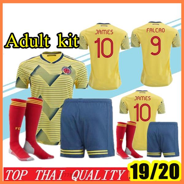 2019-2020 Kolombiya futbol Forması Kolombiya Ev sarı Futbol forması 19/20 # 10 JAMES # 9 FALCAO # 11 CUADRADO Futbol forması gömlek Beden S-2XL