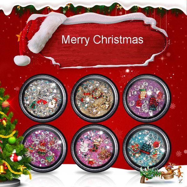 1 Bottle Elf Beads Nail Art Rhinestone Snowflake Nail Decoration Christmas Alloy Diamond Jewelry Accessories Tools
