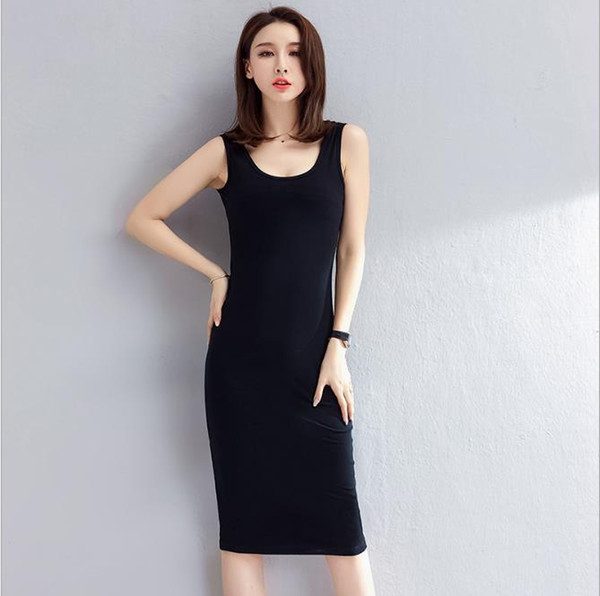 Women Designer Dresses Sexy 2019 Spring New Solid Color Vest Skirt Female Casual Ladies Clothing Sleeveless Skirts Slim Wild Dress 8 Colors