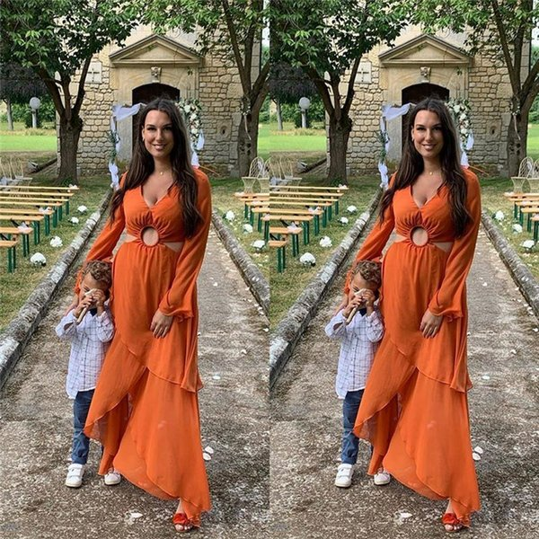 V-neck Chiffon Mother of the Bride Groom Custom Made Formal Evening Mothers Dresses Long Sleeves Tea Length Custom Made Prom Gowns