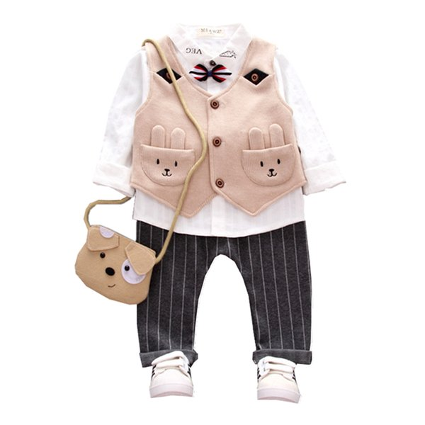 2019 New Autumn Winter Children Boys Girls Cartoon Clothes Baby Vest Shirt Pants 3 Pcs/Sets Kids Sport Suits Toddler Tracksuits