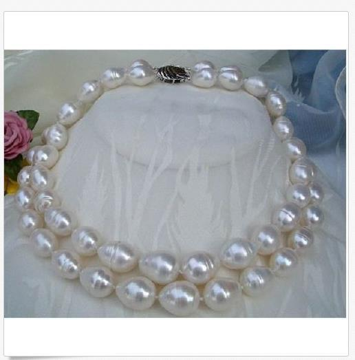 Double strands AAA 11-14mm south sea white pearl necklace 18 Inch