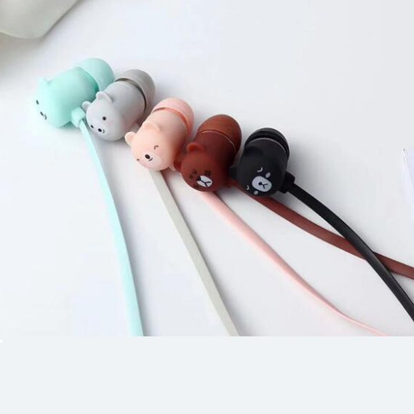 Candy Color Bear Earphones 3.5mm Stereo Headset with storage box Earplugs With Mic For Samsung Xiaomi iPhone Kid Girls Gifts
