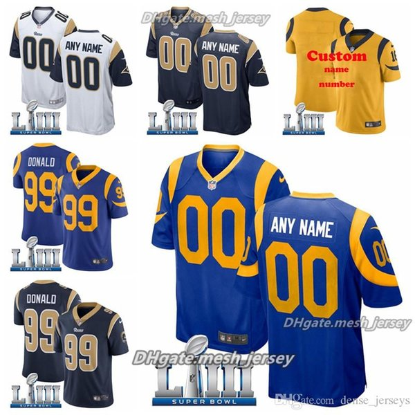 uk availability 59179 0c995 2019 Custom 2019 Super Los Angeles Bowl Rams Jersey 30 Todd Gurley II 99  Aaron Donald 16 Jared Goff Men Women Youth American Football Jersey From ...