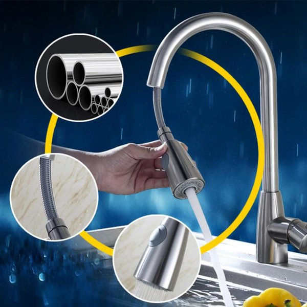 Single Hole Kitchen Faucet Sprayer Durable Pull Out Tap Stream Brushed Nickel Swivel Spray Mixer Sink Rotation Handle