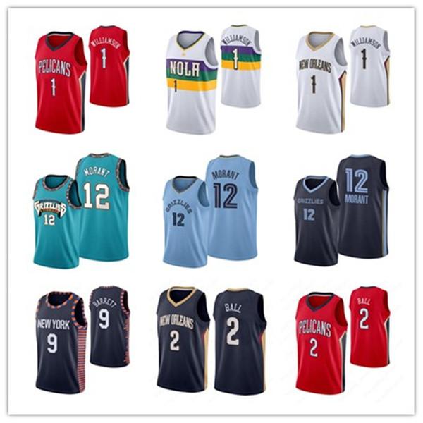 best selling NCAA Mens #1 Zion Williamson #12 Ja Morant #9 RJ Barrett 2 Ball 2019 -- 2020 New Rookie Throwback Basketball Jersey US Size S-XXL