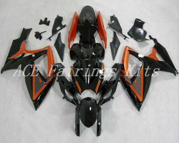 Alta qualidade novo ABS motocicleta carenagens Fit para Suzuki GSXR600 750 600 750 K6 2006 2007 06 07 conjunto de carroçaria personalizado Carenagem laranja preto